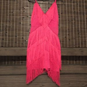Dresses & Skirts - SALE💥S💥Fringe tassel pink salsa Great Gatsby NWT
